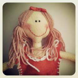 Lizzie - A Handmade Doll in Felt, Felt Doll, Handmade Doll